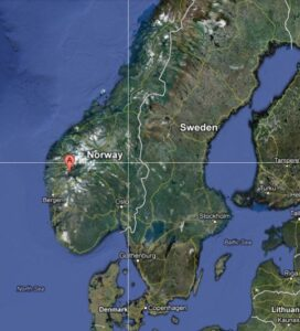 Map of Fjaerland Norway